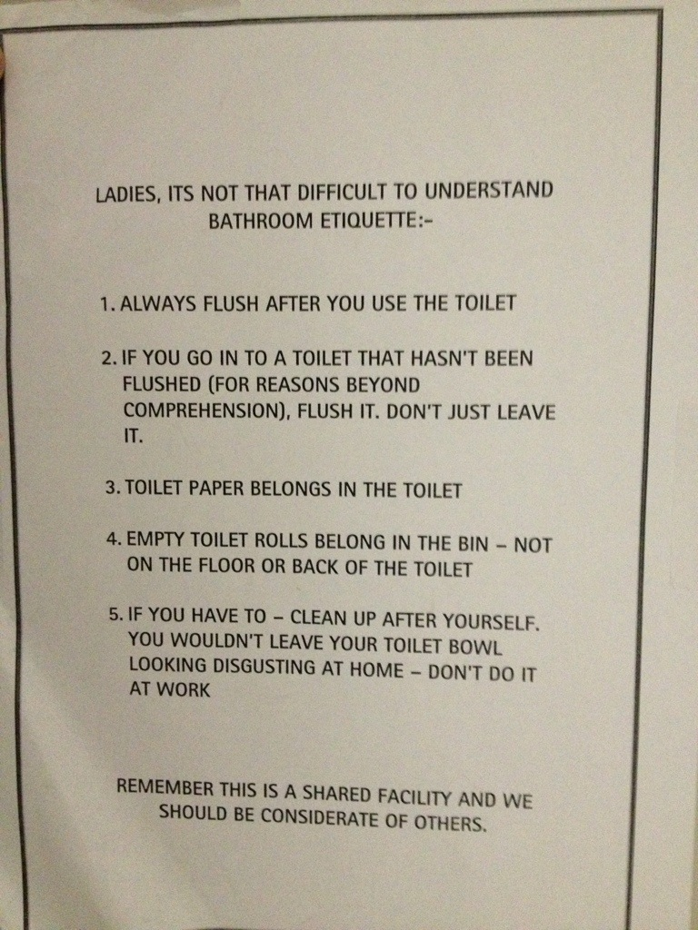 sign beautiful rules etiquette of poster simpletask and club toilet for best office ideas bathroom